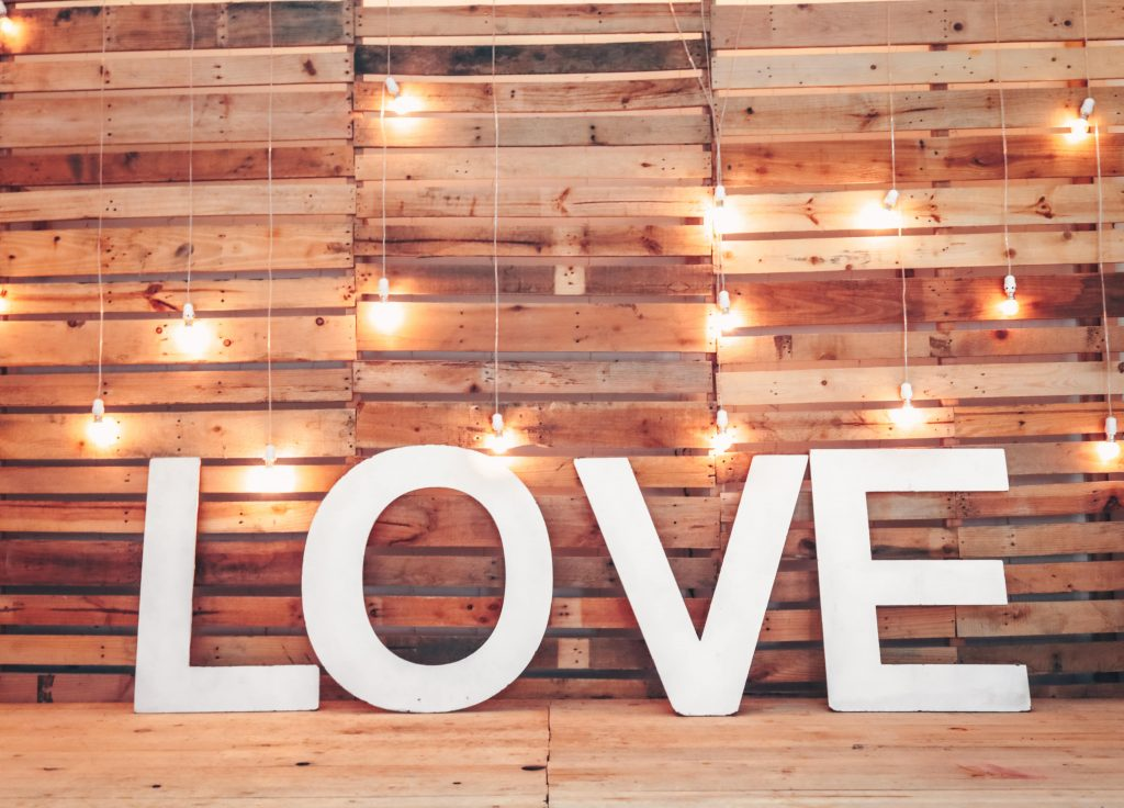A picture of a sign called love